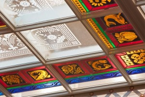 We made  the custom aluminum framework for the decorative glass for the laylight over the NYS Assembly Staircase.