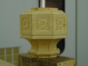 Hand carved hub pattern (at mid point in the torchiere)