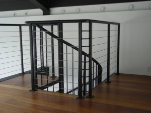 Painted Steel Spiral Staircase with Cable Handrails