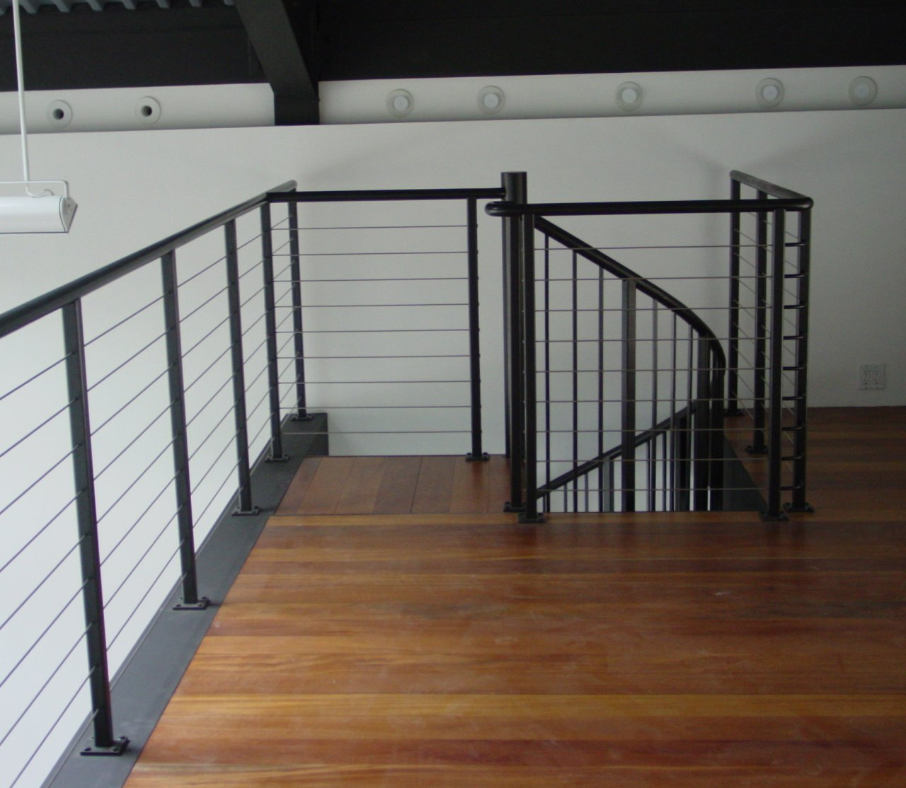 Custom Painted Steel Cable Rail And Spiral Staircase