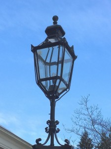 Closeup of restored lantern showing new cast filagree