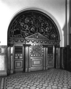 Vintage photo of the original elevator entrance